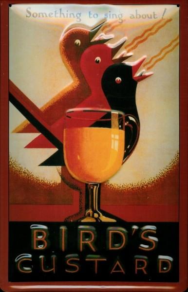 Blechschild Birds Custard Vögel Schild Nostalgieschild Schild Werbeschild