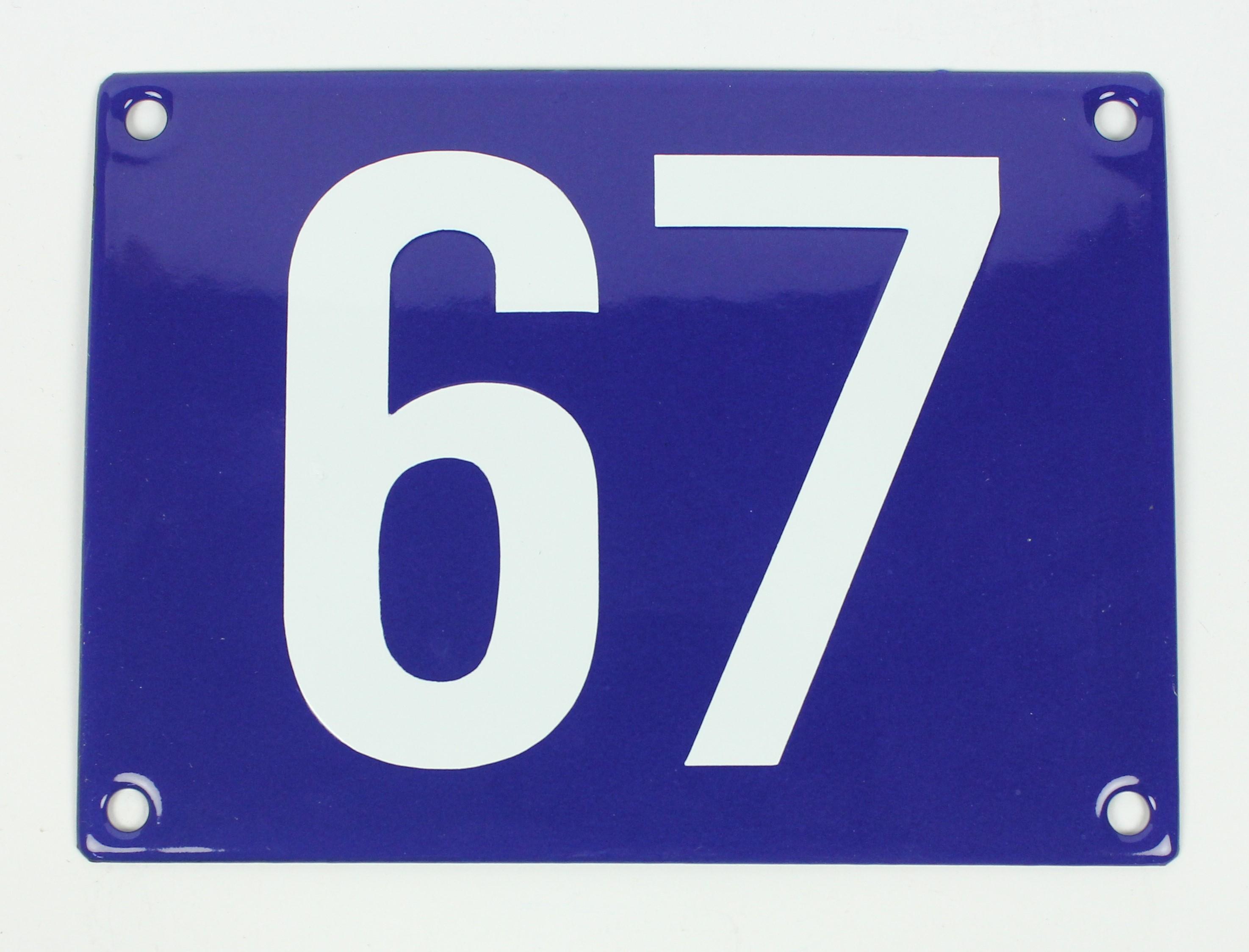 Hausnummernschild 67 Sonderanfertigung blau / weiß Blockschrift ohne ...