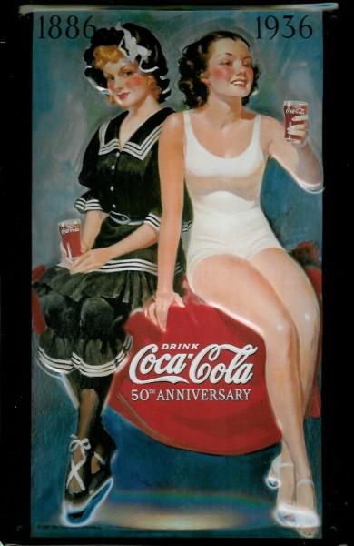 Blechschild Coca Cola 50th Anniversary 1886 - 1936 Werbeschild Retro Schild