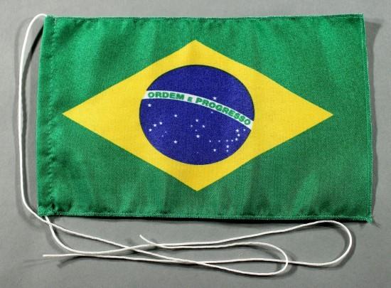 Tischflagge Brasilien 25x15 cm optional mit Holz- oder Chromständer Tischfahne Tischfähnchen