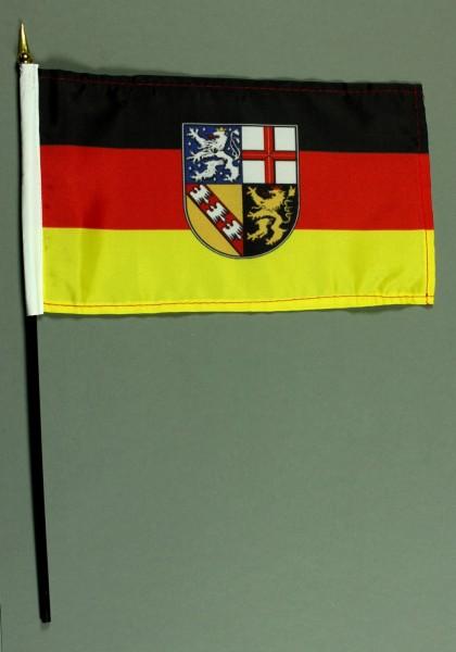 Tischflagge Saarland 15x25 cm BASIC optional mit Tischflaggenständer