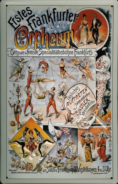 Blechschild Nostalgieschild Frankfurter Orphäum Theater Bühne