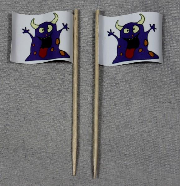 Party-Picker Flagge Halloween Monster lila Papierfähnchen in Spitzenqualität 50 Stück Beutel