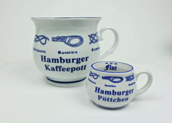 Hamburger Kaffeepott + Hamburger Pöttchen mit Seemannsknoten bauchig Kaffeebecher Kaffeetasse Kaffee