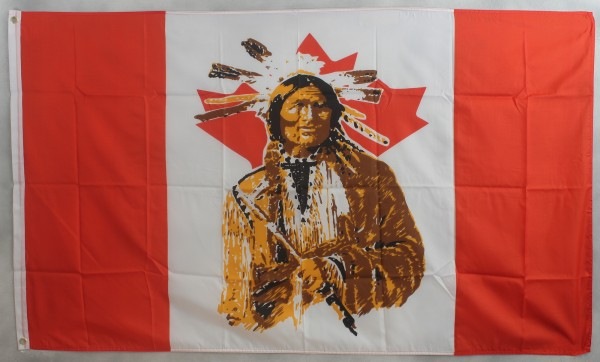 Flagge Fahne : Kanada mit Indianer