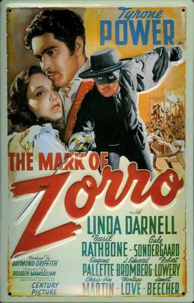 Blechschild Nostalgieschild The Mark of Zorro Filmplakat
