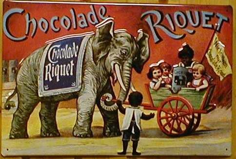 Blechschild Chocolade Riquet Zirkus Elefant Nostalgieschild Reklame Schild