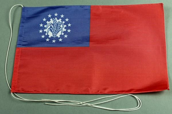 Tischflagge Myanmar Burma 25x15 cm optional mit Holz- oder Chromständer Tischfahne Tischfähnchen