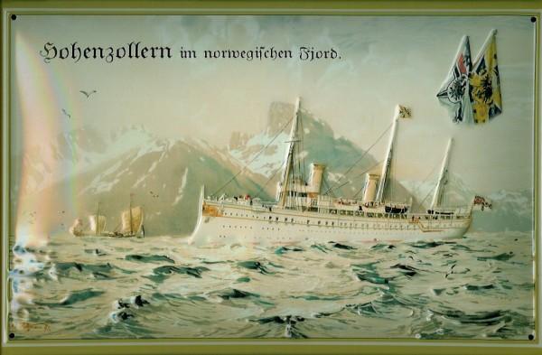 Blechschild Hohenzollern Dampfer Norwegen Fjord Schiff Schild Nostalgieschild