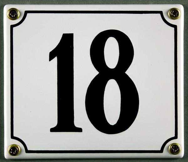 Hausnummernschild 18 weiß 12x14 cm sofort lieferbar Schild Emaille Hausnummer Haus Nummer Zahl Ziffe
