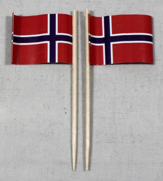 Party-Picker Flagge Norwegen Papierfähnchen in Spitzenqualität 50 Stück Beutel