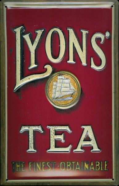 Blechschild Lyon Tea Tee Segelschiff retro Schild Nostalgieschild
