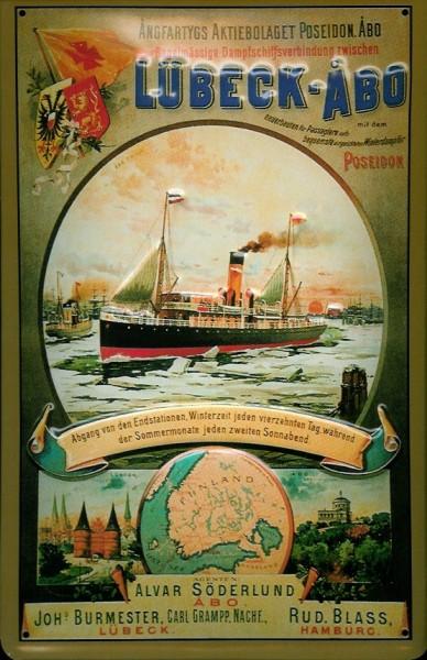 Blechschild Lübeck Abo Dampfer Dampfsegler Schiff Schild Nostalgieschild