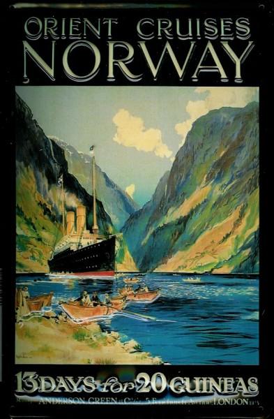 Blechschild Orient Cruises Norway Fjord Norwegen Kreuzfahrt Dampfer Reedereiplakat Schiff Schild Nos