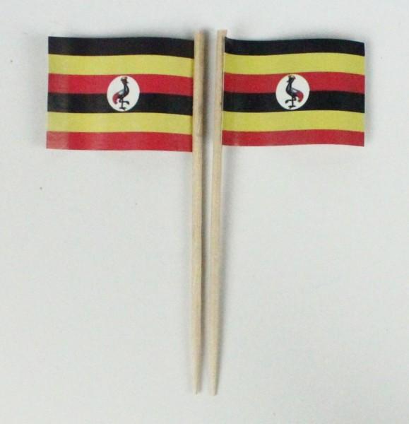 Party-Picker Flagge Uganda Afrika Papierfähnchen in Spitzenqualität 50 Stück Beutel