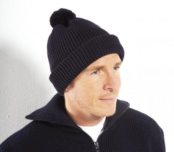 Pudelmütze 100% Schurwolle in dunkelblau oder schwarz