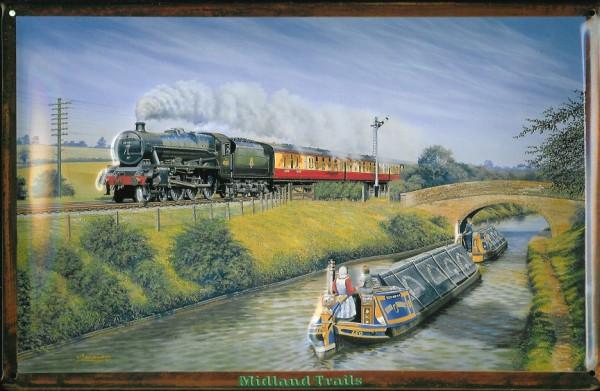 Blechschild Nostalgieschild Midland Trails England Eisenbahn