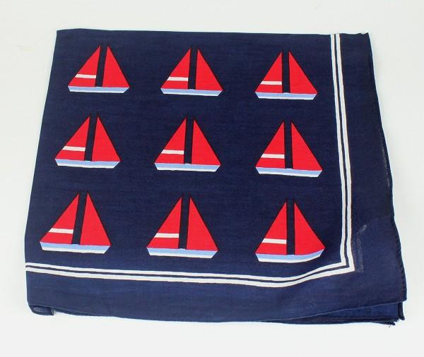 Halstuch / Vierecktuch Schiffchen Boot blau 54x54 cm Tuch Schal