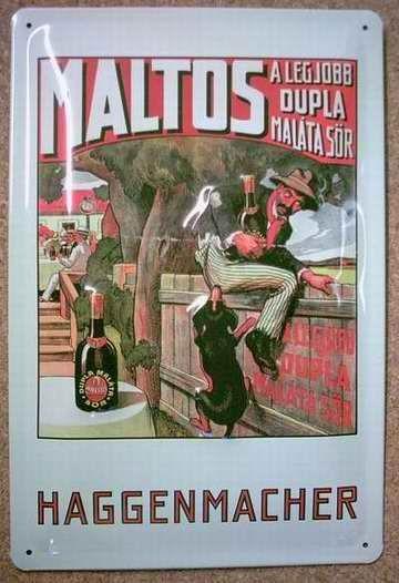 Blechschild Maltos Haggenmacher Schnaps Flasche retro Schild Reklameschild
