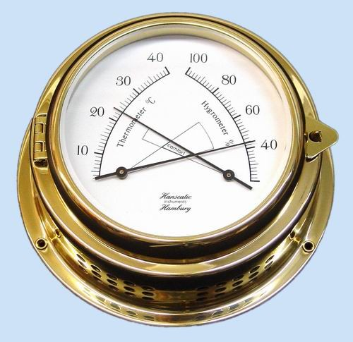 Thermometer / Hygrometer Kombination 150 mm Messing 70mm Tiefe