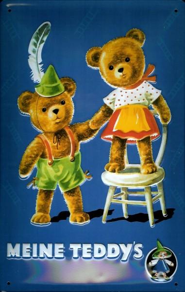 Blechschild Meine Teddys Teddybär Teddy Schild Nostalgieschild