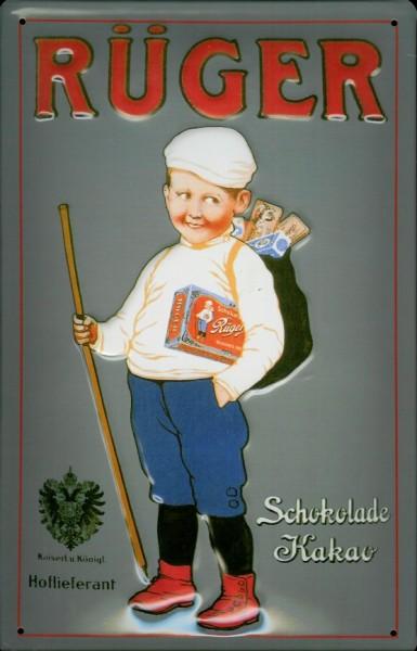 Blechschild Rüger Hansi Schokolade Kakao Rügen Schild Werbeschild