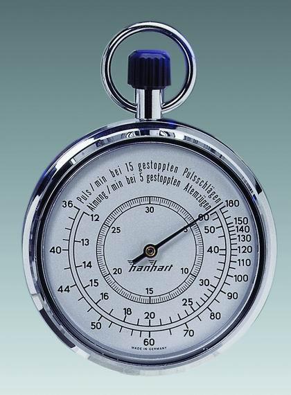 Mechanische analog Kronen Stoppuhr Hanhart 1/10 sec 30 min PULS / ATMUNG