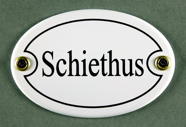 Emaille Türschild Schiethus weiss oval Schild Toilette Kloschild Toilettenschild