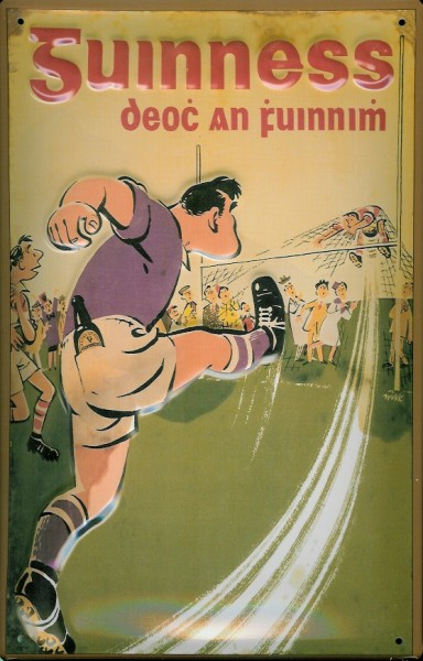 Blechschild Guinness Bier Fussball Football retro Schild Reklameschild