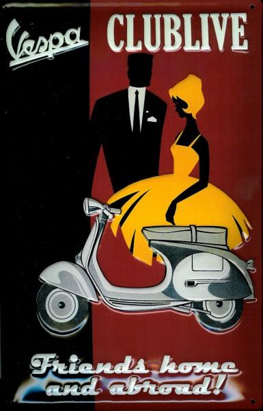 Blechschild Vespa Clublive Motorroller Schild Nostalgieschild