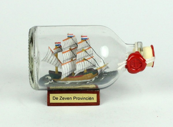 De Zeven Provincien Mini Buddelschiff 50 ml ca. 7,2 x 4,5 cm Flaschenschiff