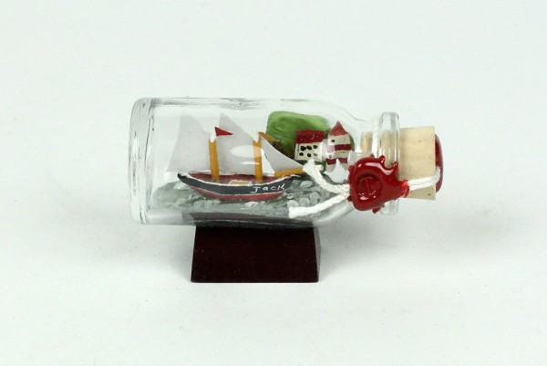 2-Mastschoner mit Landschaft Mini Buddelschiff 10 ml 5x2 cm Flaschenschiff