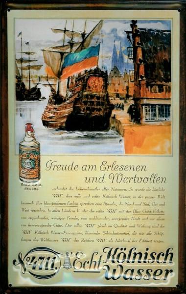 Blechschild 4711 Schiff Kogge kölnisch Wasser Parfum Schild Werbeschild Nostalgieschild