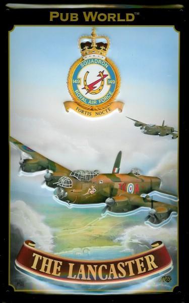 Blechschild Lancaster Kampfflugzeug British Royal Airforce Schild Nostalgieschild