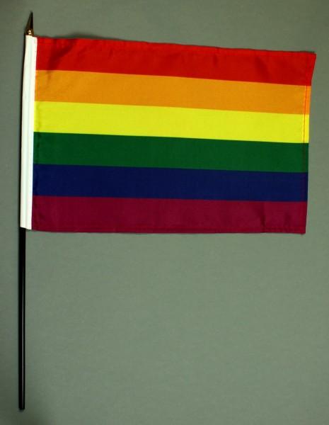 Tischflagge Regenbogen Rainbow 20x30 cm optional mit Tischflaggenständer aus Mahagoni Holz