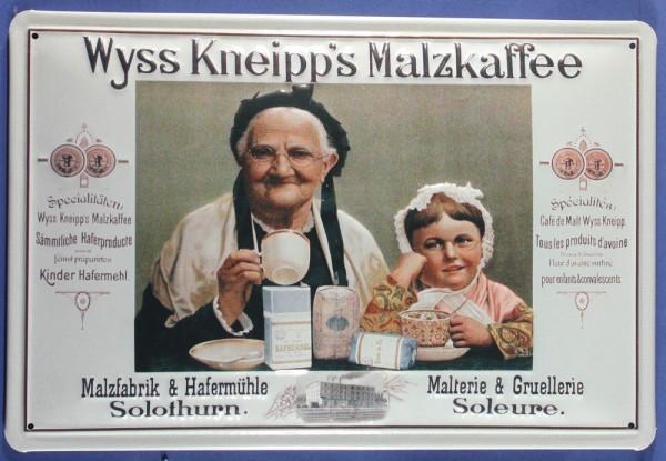 Blechschild Wyss Kneipp Malzkaffee Malz Kaffee Schild Nostalgieschild Werbeschild