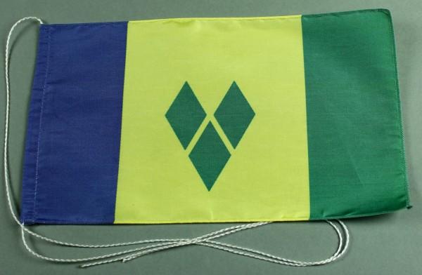 Tischflagge Sankt Vincent 25x15 cm optional mit Holz- oder Chromständer Tischfahne Tischfähnchen