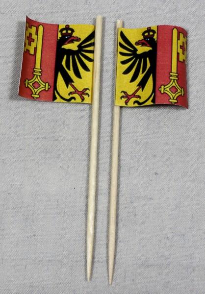 Party-Picker Flagge Genf Kanton Schweiz Papierfähnchen in Spitzenqualität 50 Stück Beutel