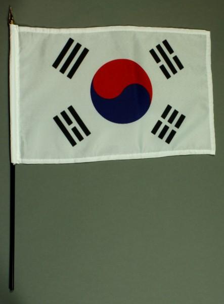 Tischflagge Südkorea 20x30 cm optional mit Tischflaggenständer aus Mahagoni Holz