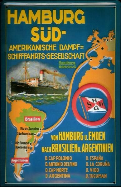 Blechschild Hamburg Süd Reederei Plakat Dampfer Schiff Schild Nostalgieschild
