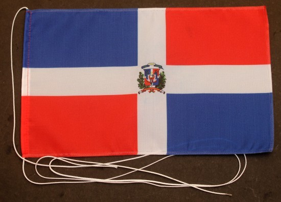 Tischflagge Dominikanische Republik mit Wappen 25x15 cm optional mit Holz- oder Chromständer Tischfa