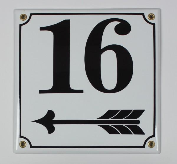 16 Pfeil links 20x20 cm sofort lieferbar Schild Emaille Hausnummer