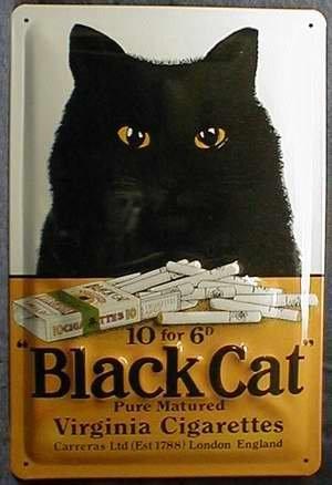 Blechschild Nostalgieschild Black Cat Cigarettes schwarze Katze Zigaretten
