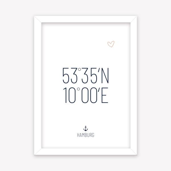 Poster Hamburg Koordinaten 53°35´N 10°00´E, Anker & Herz160 g/m² Kunstdruck Wandbild A4 | A5 | A6