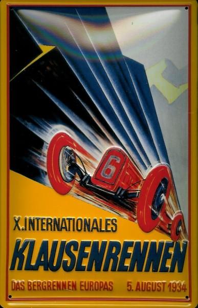 Blechschild Klausenrennen 1934 Bergrennen Nostalgieschild Schild