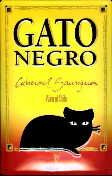 Blechschild Gato Negro Katze gelb Kater Wine of Chile retro Schild