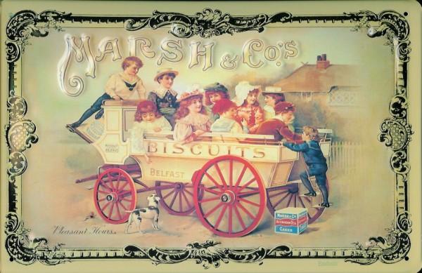 Blechschild Marsh & Co. Biscuits Kekse Karre Wagen Schild Nostalgieschild