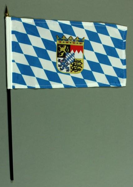 Tischflagge Bayern mit Wappen und Raute 25x15 cm BASIC optional mit Tischflaggenständer