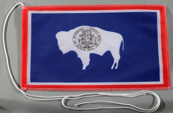Tischflagge Wyoming USA Bundesstaat US State optional mit Holz- oder Chromständer Tischfahne Tischfä
