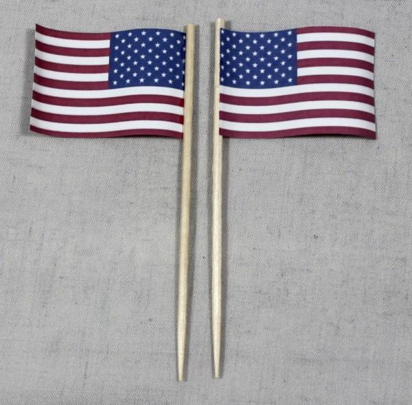 Party-Picker Flagge USA Papierfähnchen in Spitzenqualität 50 Stück Beutel